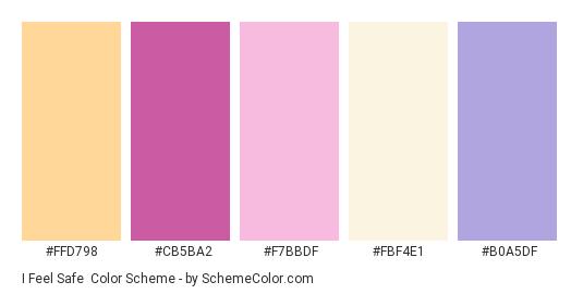 I Feel Safe - Color scheme palette thumbnail - #ffd798 #cb5ba2 #f7bbdf #fbf4e1 #b0a5df