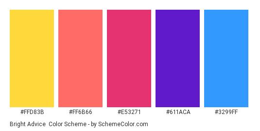 Bright Advice - Color scheme palette thumbnail - #ffd83b #ff6b66 #e53271 #611aca #3299ff
