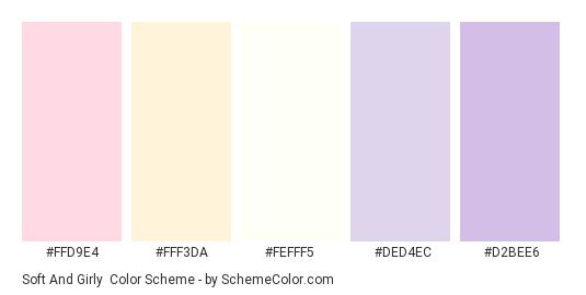 Soft and Girly - Color scheme palette thumbnail - #ffd9e4 #fff3da #fefff5 #ded4ec #d2bee6