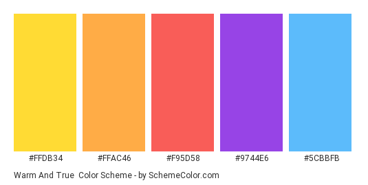 Warm and True - Color scheme palette thumbnail - #ffdb34 #ffac46 #f95d58 #9744e6 #5cbbfb