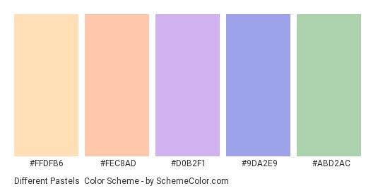 Different Pastels - Color scheme palette thumbnail - #ffdfb6 #fec8ad #d0b2f1 #9da2e9 #abd2ac