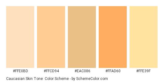 Caucasian Skin Tone - Color scheme palette thumbnail - #ffe0bd #ffcd94 #eac086 #ffad60 #ffe39f