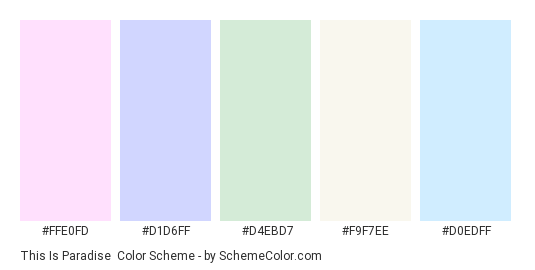 This is Paradise - Color scheme palette thumbnail - #ffe0fd #d1d6ff #d4ebd7 #f9f7ee #d0edff