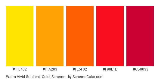 Warm Vivid Gradient - Color scheme palette thumbnail - #ffe402 #ffa203 #fe5f02 #f90e1e #cb0033