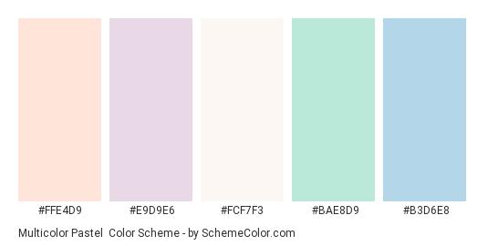 Multicolor Pastel - Color scheme palette thumbnail - #ffe4d9 #e9d9e6 #fcf7f3 #bae8d9 #b3d6e8