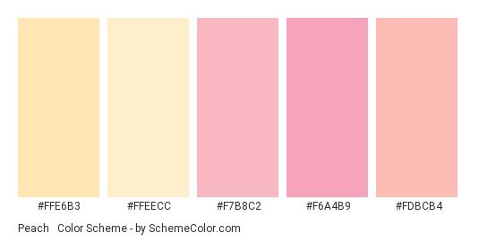 Peach & Melon Pink - Color scheme palette thumbnail - #ffe6b3 #ffeecc #f7b8c2 #f6a4b9 #fdbcb4