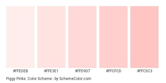 Piggy Pinks Color Scheme Palette Thumbnail Ffedeb Ffe3e1 Ffd9d7 Ffcfcd