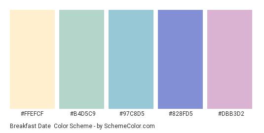 Breakfast Date - Color scheme palette thumbnail - #ffefcf #b4d5c9 #97c8d5 #828fd5 #dbb3d2