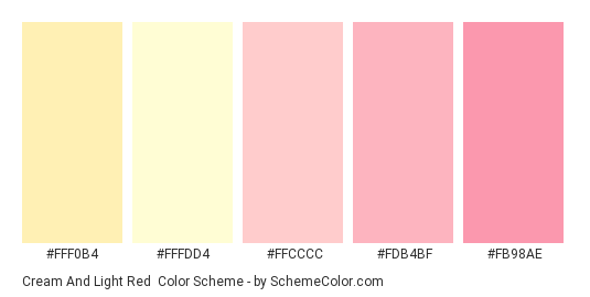 Cream and Light Red - Color scheme palette thumbnail - #fff0b4 #fffdd4 #ffcccc #fdb4bf #fb98ae