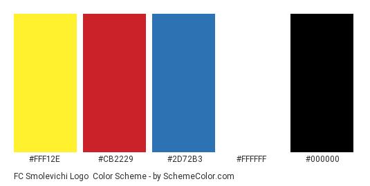 FC Smolevichi Logo - Color scheme palette thumbnail - #fff12e #cb2229 #2d72b3 #ffffff #000000