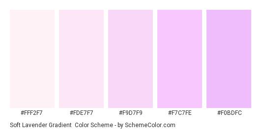 Soft Lavender Gradient - Color scheme palette thumbnail - #fff2f7 #fde7f7 #f9d7f9 #f7c7fe #f0bdfc
