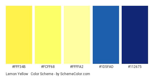 Lemon Yellow & Blues - Color scheme palette thumbnail - #fff34b #fcff68 #ffffa2 #1d5fad #112675
