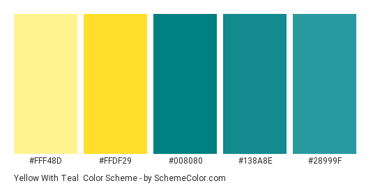 Yellow With Teal Color Scheme » Teal » SchemeColor.com