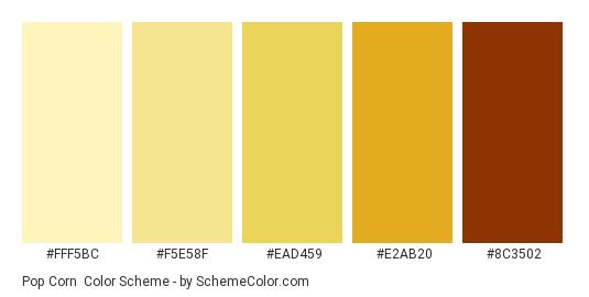 Pop Corn - Color scheme palette thumbnail - #fff5bc #f5e58f #ead459 #e2ab20 #8c3502