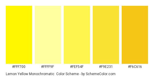 Lemon Yellow Monochromatic - Color scheme palette thumbnail - #fff700 #ffff9f #fef54f #f9e231 #f6c616