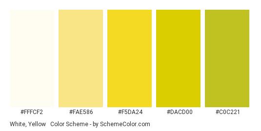 White, Yellow & Green - Color scheme palette thumbnail - #fffcf2 #fae586 #f5da24 #dacd00 #c0c221