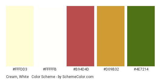 Cream, White & Autumn - Color scheme palette thumbnail - #fffdd3 #fffffb #b94d4d #d09b32 #4e7214