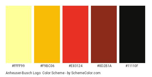 Anheuser-Busch Logo - Color scheme palette thumbnail - #ffff99 #f9bc06 #e83124 #8d2b1a #11110f