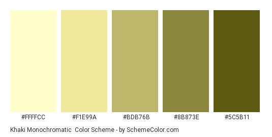 Khaki Monochromatic - Color scheme palette thumbnail - #ffffcc #f1e99a #bdb76b #8b873e #5c5b11