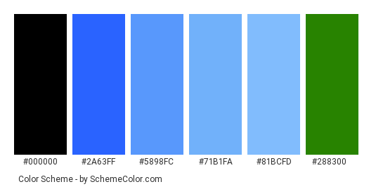 Spring Flowers Are Blue - Color scheme palette thumbnail - #1c3ef6 #2a63ff #5898fc #71b1fa #81bcfd #288300