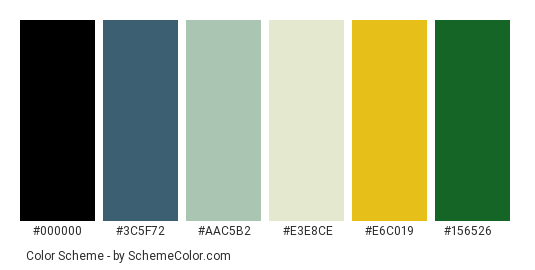 Daisy Beautiful - Color scheme palette thumbnail - #263751 #3c5f72 #aac5b2 #e3e8ce #e6c019 #156526