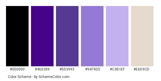 Flower Violet - Color scheme palette thumbnail - #330066 #460389 #553993 #9479d5 #c3b1ef #e6d9cd