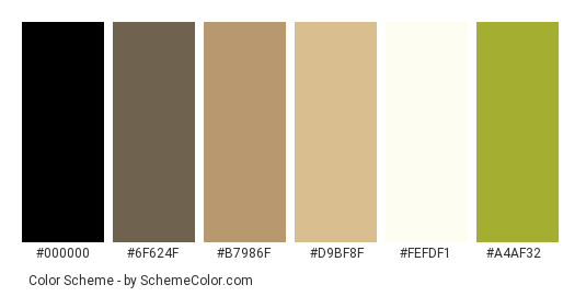 Sun in the Forest - Color scheme palette thumbnail - #363632 #6f624f #b7986f #d9bf8f #fefdf1 #a4af32