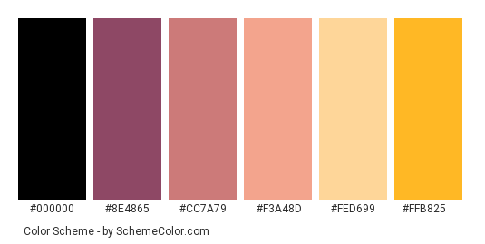 Summer Holiday Evening - Color scheme palette thumbnail - #471943 #8e4865 #cc7a79 #f3a48d #fed699 #ffb825