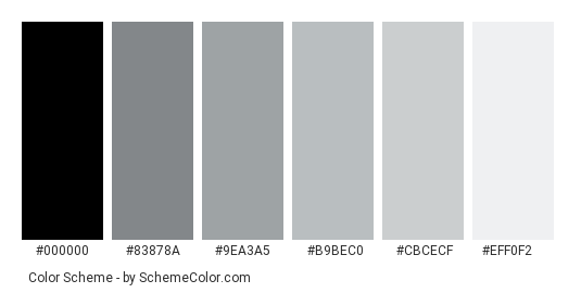 Winter Grays - Color scheme palette thumbnail - #656a6f #83878a #9ea3a5 #b9bec0 #cbcecf #eff0f2