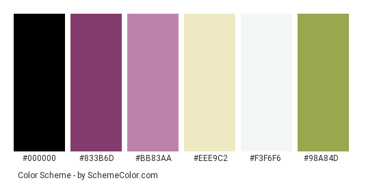 Purple Decorations - Color scheme palette thumbnail - #6a2b57 #833b6d #bb83aa #eee9c2 #f3f6f6 #98a84d