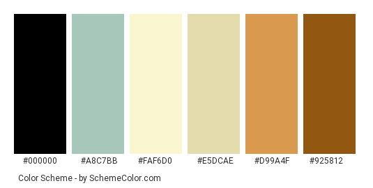 Nutty Table - Color scheme palette thumbnail - #729b93 #a8c7bb #faf6d0 #e5dcae #d99a4f #925812