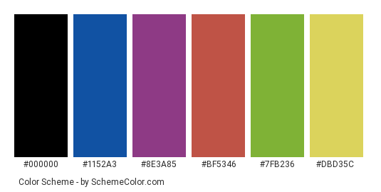 Colorful Straws - Color scheme palette thumbnail - #74b6bf #1152a3 #8e3a85 #bf5346 #7fb236 #dbd35c