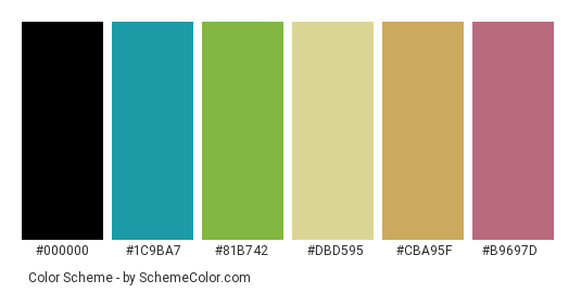 Rainbow in my Hair - Color scheme palette thumbnail - #77516d #1c9ba7 #81b742 #dbd595 #cba95f #b9697d