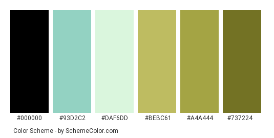 Beauty of Steps - Color scheme palette thumbnail - #7abcb0 #93d2c2 #daf6dd #bebc61 #a4a444 #737224