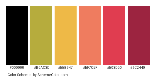 Hanging out in Autumn - Color scheme palette thumbnail - #7d8b3e #b6ac3d #eeb947 #ef7c5f #e03d50 #9c2440