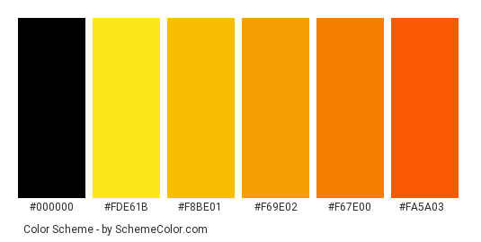 Maple Leaves - Color scheme palette thumbnail - #96a500 #fde61b #f8be01 #f69e02 #f67e00 #fa5a03