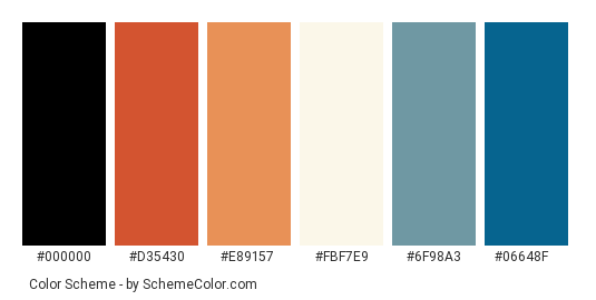 Tall As A Rock - Color scheme palette thumbnail - #a5281f #d35430 #e89157 #fbf7e9 #6f98a3 #06648f