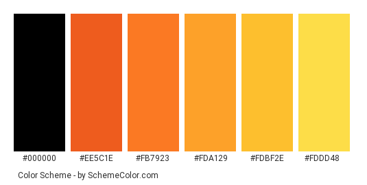 Burning Rose - Color scheme palette thumbnail - #b52814 #ee5c1e #fb7923 #fda129 #fdbf2e #fddd48