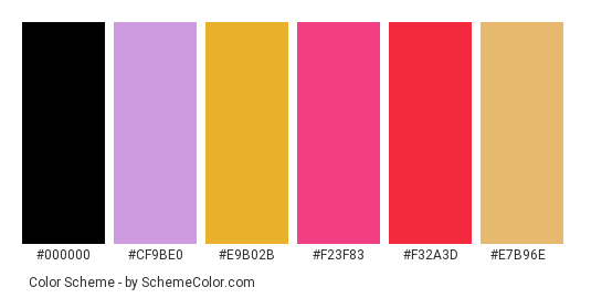Colorful wool - Color scheme palette thumbnail - #f4c4bd #cf9be0 #e9b02b #f23f83 #f32a3d #e7b96e