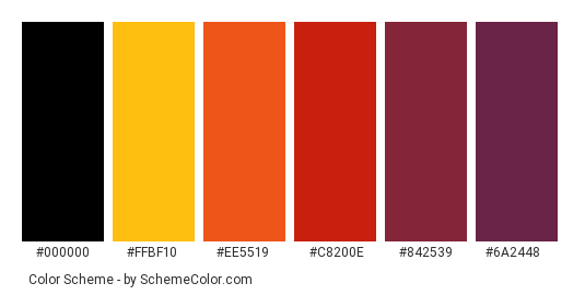 Sunset In My Heart - Color scheme palette thumbnail - #fead12 #ffbf10 #ee5519 #c8200e #842539 #6a2448
