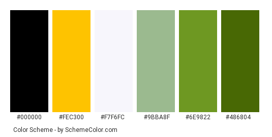 Oils and Basil - Color scheme palette thumbnail - #ffa900 #fec300 #f7f6fc #9bba8f #6e9822 #486804