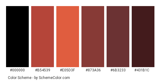 Brown Shoes - Color scheme palette thumbnail - #4f2f2d #b54539 #e05d3f #873a36 #6b3233 #431b1c