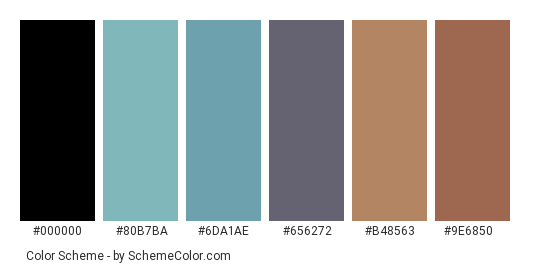 Field in Summer - Color scheme palette thumbnail - #acd6ca #80b7ba #6da1ae #656272 #b48563 #9e6850