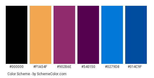 Brush with Beauty - Color scheme palette thumbnail - #ba693c #f1a54f #902b6e #540150 #0279d8 #014c9f