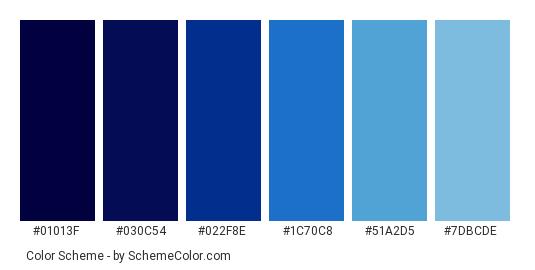 Deep Blue Sea Color Scheme Palette Thumbnail 01013f 030c54 022f8e