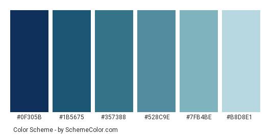 Blue Eyes Color Scheme Palette Thumbnail 0f305b 1b5675 357388 528c9e
