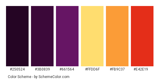 Purple Autumn Color Scheme Palette Thumbnail 250524 3b0839 661564 Ffdd6f