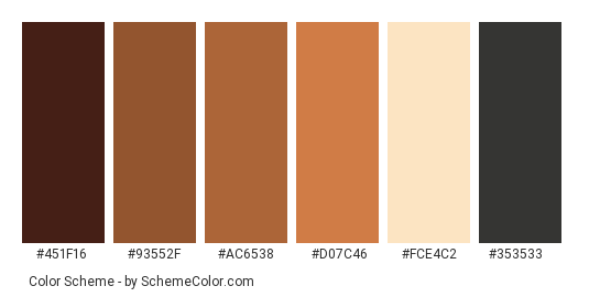 Brown Horses Color Scheme Palette Thumbnail 451f16 93552f Ac6538 D07c46