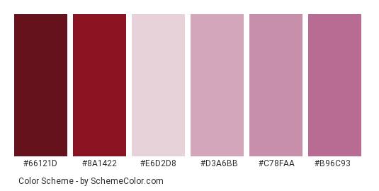 Red Onion Color Scheme Palette Thumbnail 66121d 8a1422 E6d2d8 D3a6bb