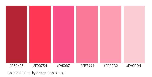 Pink Wine Color Scheme Palette Thumbnail B52435 Fd3754 F95087 Fb7998